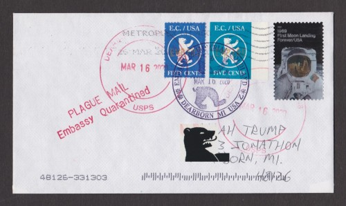 Very Early Embassy of Imperial Coldland Plague Mail: 1x-Rate To MI 2020-0316