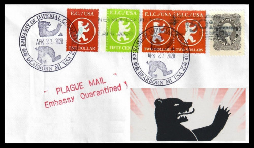 Plague Mail from the Embassy of Imperial Coldland: 10x-Rate to CT 2020-0427