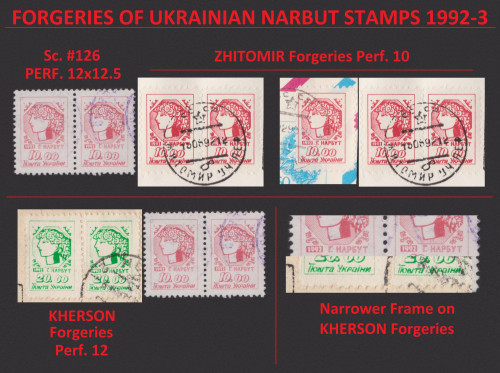 Comparative details of several on-cover 1992-1993 forgeries of Ukraine's modern Narbut definitive stamps.