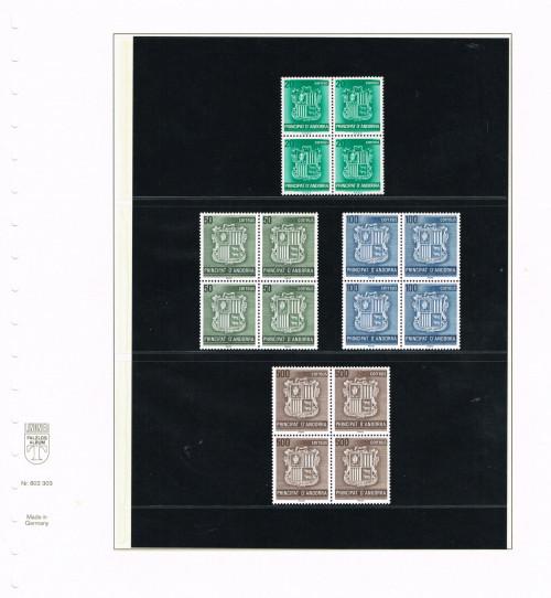 1988, Principat d'Andorra, Escut d'Andorra, papel de fósforo, Edifil 209 - 212