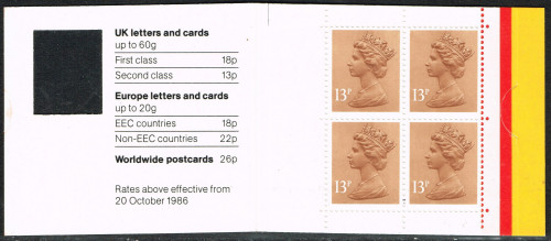 ??-02-1988 DB16(2)A 4 x 13p, code F booklet with revised clasp.
