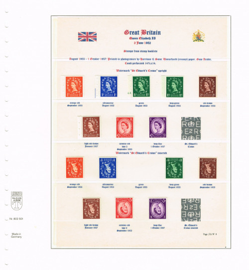1955 - 1957, Elizabeth II, Wildings, St. Edward's Crown watermark upright and inverted (ex stamp books), SG 540-545 & 540Wi-545Wi, Specialised S2/b, S14/b, S26(1)/b, S26(2)/b, S37/c, S38/d, S53/e, S68/d.