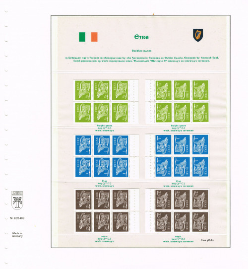 """1971, Eire, """"Gerl"""" definitives, second, decimal issue, stamps from booklets, watermark multiple Gaelic e sideways or sideways inverted, Hibernian D51A/B wd/we, D52iA/B wd/we, D55A/B wd/we."""