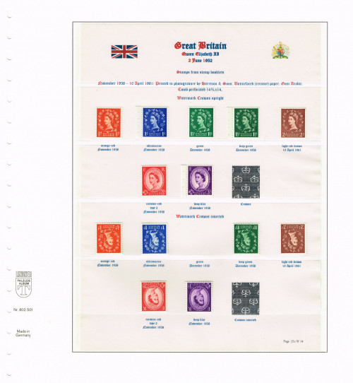 1958 - 1961, Elizabeth II, Wildings, Crowns watermark upright and inverted (ex stamp books), SG 570-575 & 570Wi-575Wi, Specialised S4/c, S16/d, S28(1)/a, S28(2)/a, S40/c, S55/d, S70/e.
