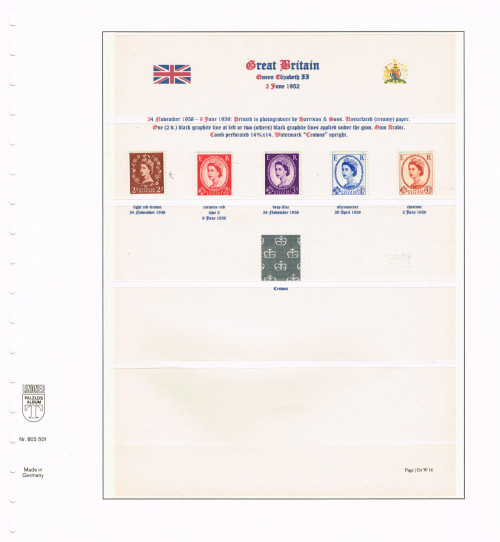 1958-1959, Elizabeth II, Wildings, Crowns watermark upright, Graphite lines on the back, SG 590-594, Specialised S42, S59, S72, S86, S95.