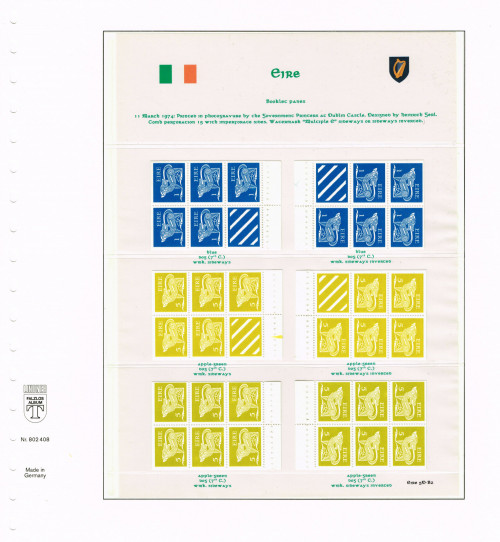 "1974, Eire, ""Gerl"" definitives, second, decimal issue, stamps from booklets, watermark multiple Gaelic e sideways or sideways inverted, Hibernian D52A/B wd/we, D60iA/B wd/we, D60A/B wd/we."