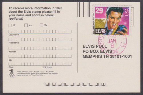 USA Elvis First Day Cancelled ballot - normal '8' in date.