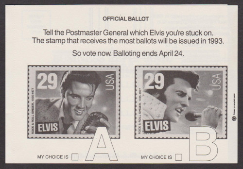 USA Elvis Stamp - People Magazine's Official Ballot. The only other ballot form allowed besides the vertical-format USPS ballot.