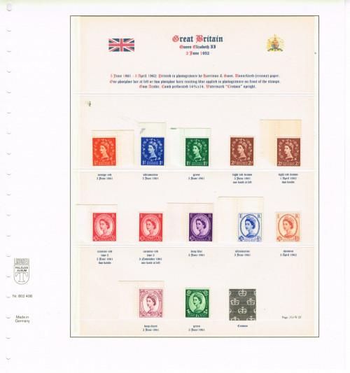 """1961, Elizabeth II, Wildings, watermark """"Multiple Crowns,"""" sheet stamps with blue phosphor bars on the front, SG 610 -618 (Specialised S10, S21, S33, S45, S46d, S62, S63a, S75, S89, S97c, S110, S146)."""