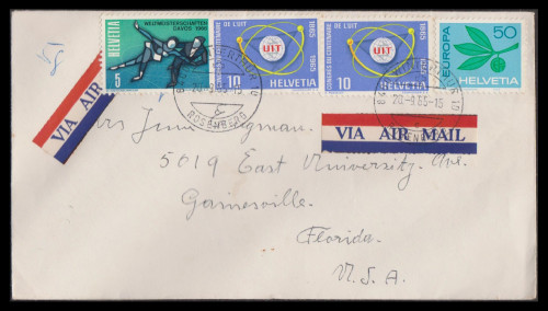 Switzerland cover to Florida with two Airmail etiquettes nicely tied, 09-20-1965