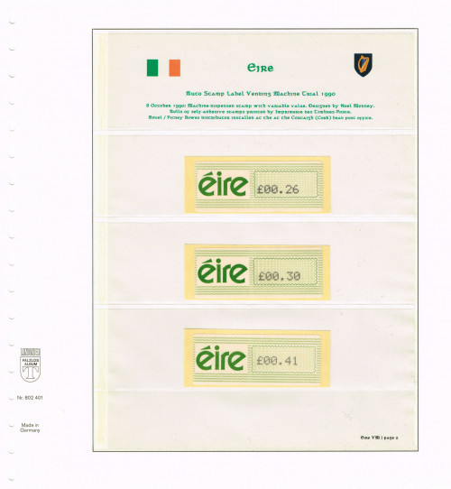 1990, Eire, Variable Value Stamps from Experimental Machines