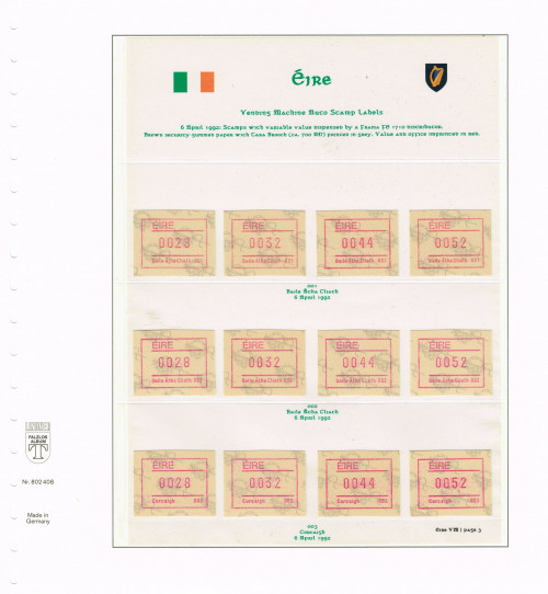 1992, Eire, Variable Value Stamps from FRAMA FE 1710 Distributors 001 - 003