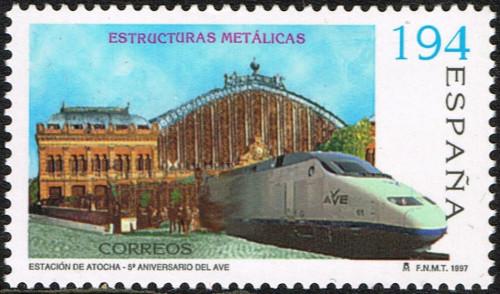 """1997-04-22, España, Construcciones Metálicas, """"Estación de Puerta de Atocha,"""" 190 ptas. multi-coloured, EDIFIL nr. 3480"""