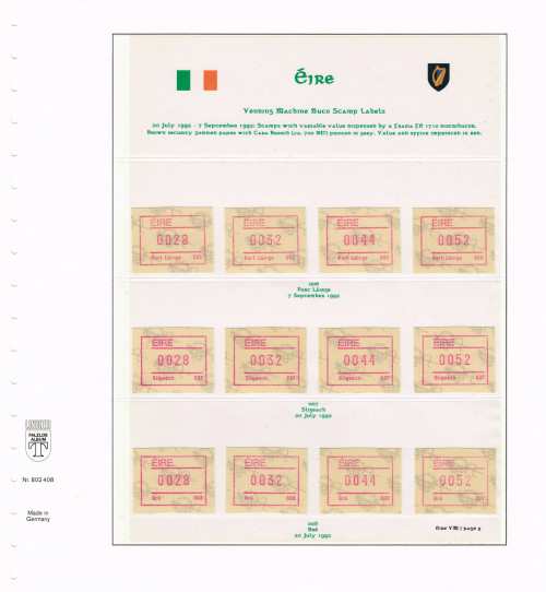 1992, Eire, Variable Value Stamps from FRAMA FE 1710 Distributors 006 - 008