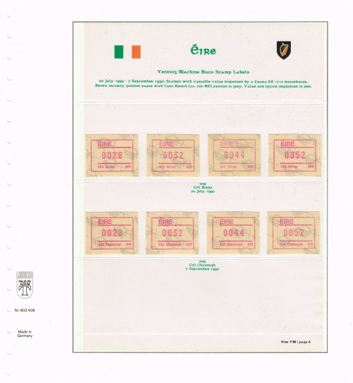 1992, Eire, Variable Value Stamps from FRAMA FE 1710 Distributors 009 - 010